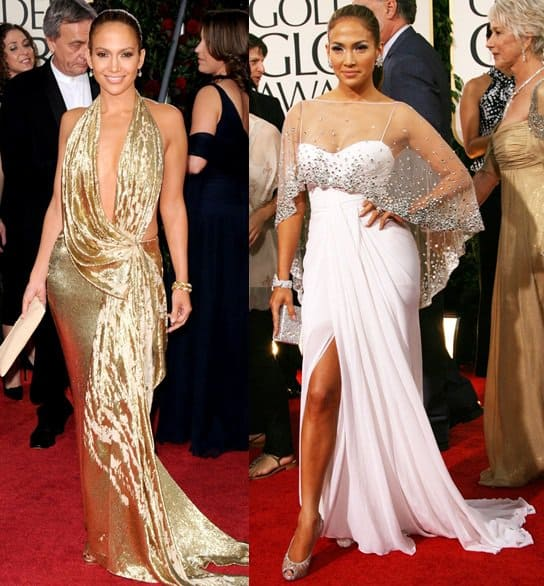 jennifer lopez golden globes 2009 and 2011