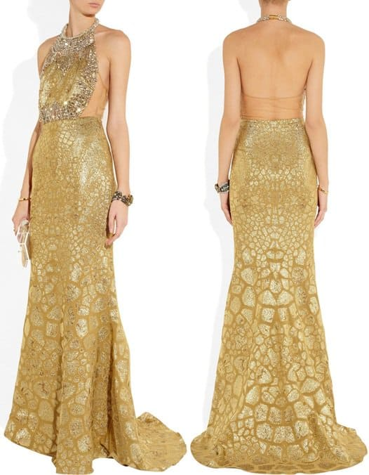 alexander mcqueen crystal embellished gown