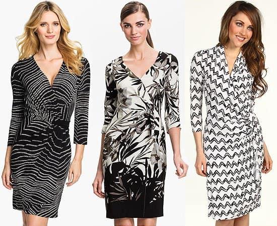Black and white wrap dresses