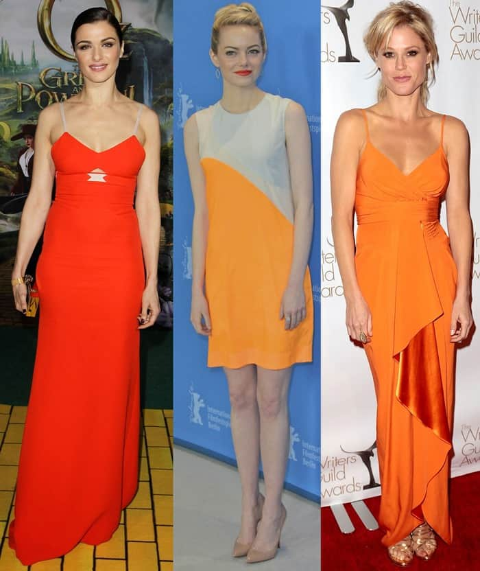 Celebrities wearing orange dresses on the red carpet