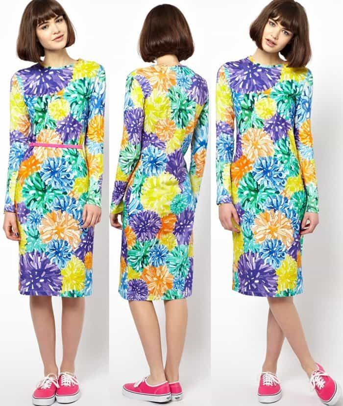 House of Holland Multicolor Long Sleeved Dress in Pom Pom Print