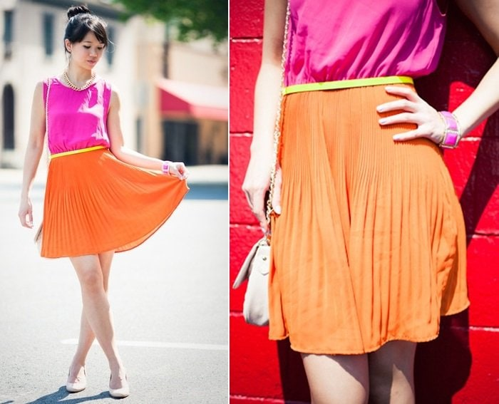 Liz Chan shows what to wear with a neon dress