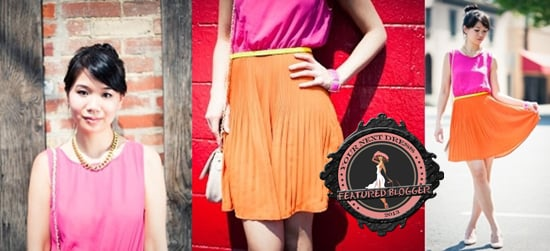 Liz Chan has an easy-going take on neon with her pink and orange dress accented by a slim, bright yellow belt