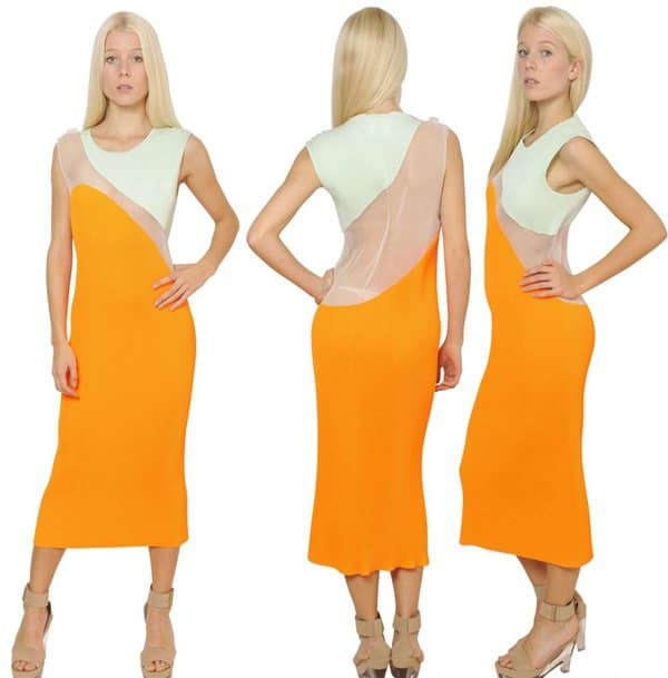 Stella McCartney Techno Satin Plisse Dress