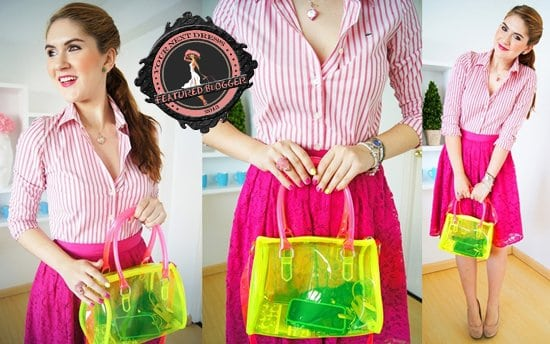 Marie McGrath does neon pink with a dainty lace skirt, a preppy striped top, and an electric yellow jelly bag