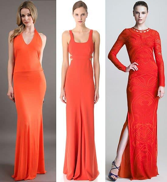 Statuesque Long Orange Gowns