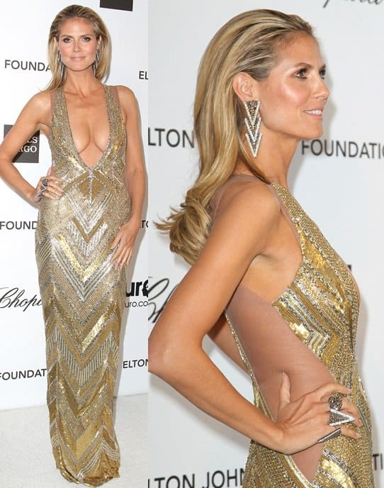 Heidi Klum arrives at the 21st Annual Elton John AIDS Foundation Academy Awards viewing party