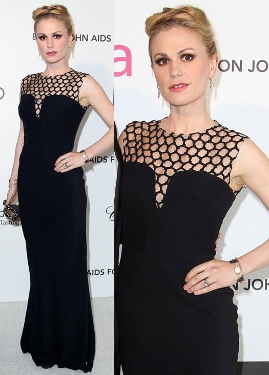 Anna Paquin arrives at the 21st Annual Elton John AIDS Foundation Academy Awards viewing party