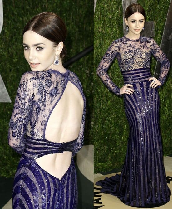 Actress Lily Collins attends the 2013 Vanity Fair Oscar Party hosted by Graydon Carter at Sunset Tower