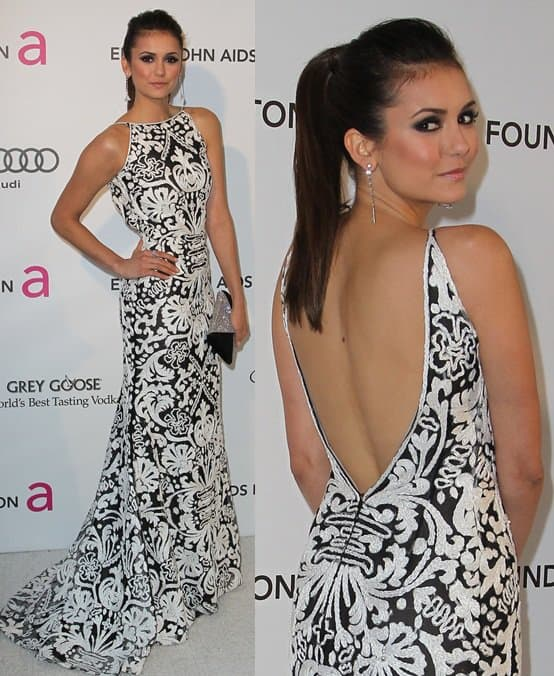 Nina Dobrev arrives at the 21st Annual Elton John AIDS Foundation Academy Awards viewing party