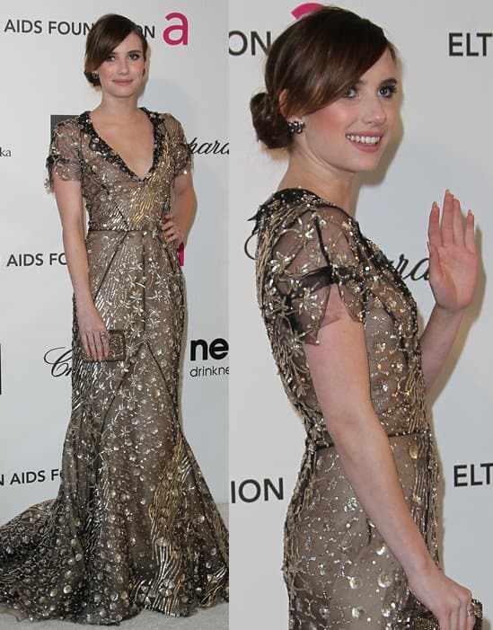 Emma Roberts arrives at the 21st Annual Elton John AIDS Foundation Academy Awards viewing party