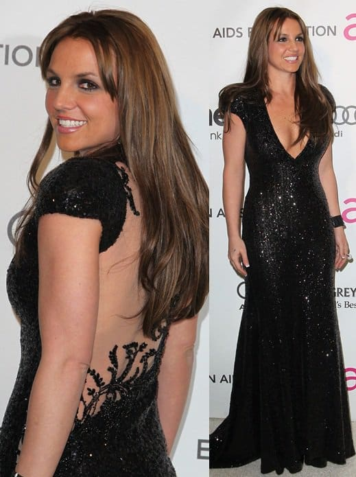 Britney Spears arrives at the 21st Annual Elton John AIDS Foundation Academy Awards viewing party