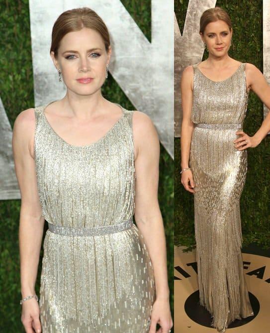 Amy Adams arrives at the 2013 Vanity Fair Oscar Party hosted by Graydon Carter
