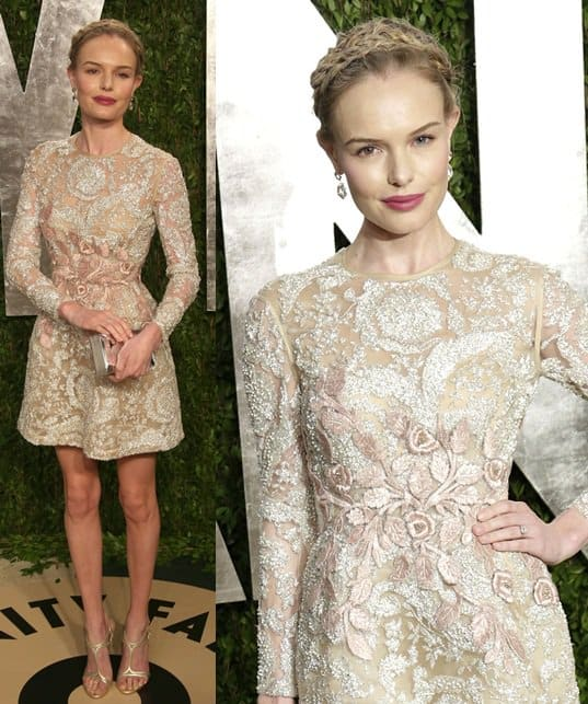 Kate Bosworth wears a braided updo at the 2013 Vanity Fair Oscar Party