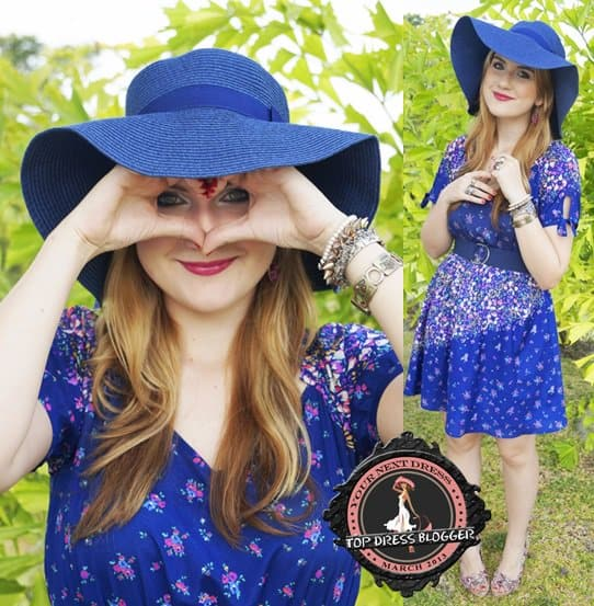 Marie shows how to wear a blue hat with a matching dress