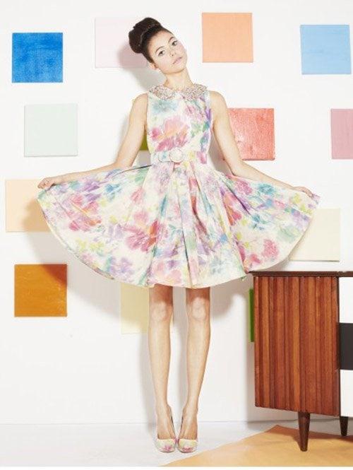 Alice + Olivia Lollie Pleated Skirt Embellished Dress