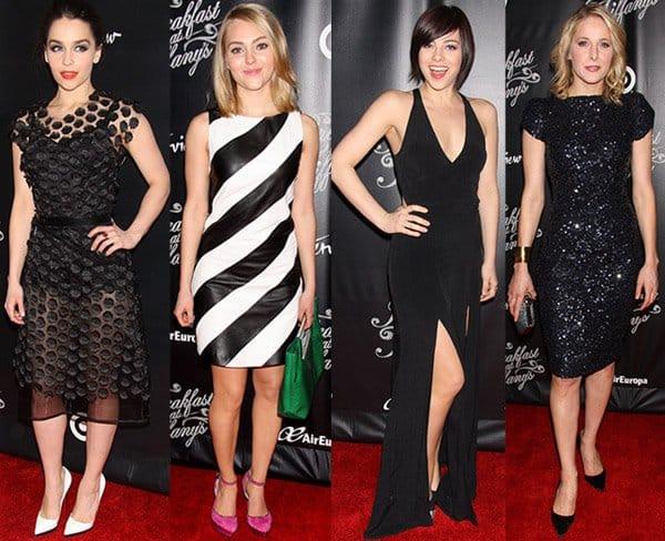 Emilia Clarke, AnnaSophia Robb, Kate Cullen, and Krysta Rodriguez flaunting their legs