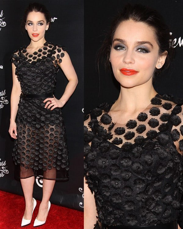 Emilia Clarke in a black floral dress at Breakfast at Tiffany's opening night party