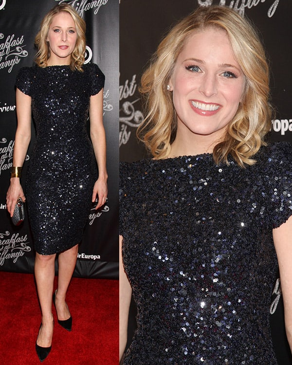 Kate Cullen Roberts in an embellished dress at Breakfast at Tiffany's opening night party