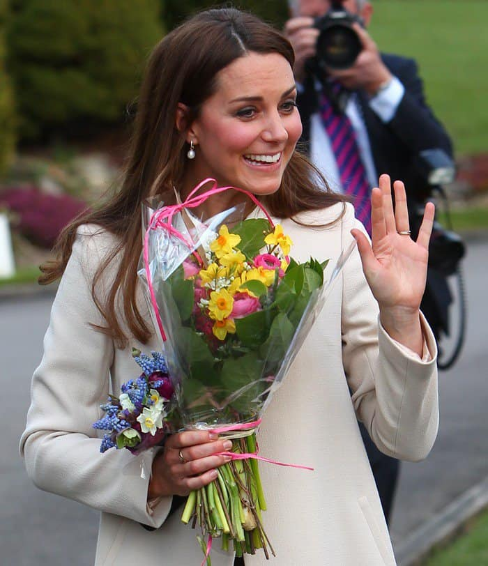 Kate Middleton or Catherine, Duchess of Cambridge, visiting the headquarters of Child Bereavement