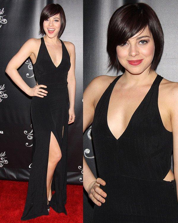 Krysta Rodriguez in a revealing halter dress at Breakfast at Tiffany's opening night party