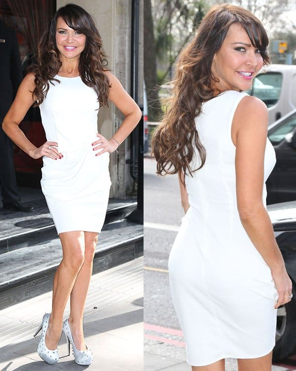 Lizzie Cundy in a clean and crisp white sleeveless dress