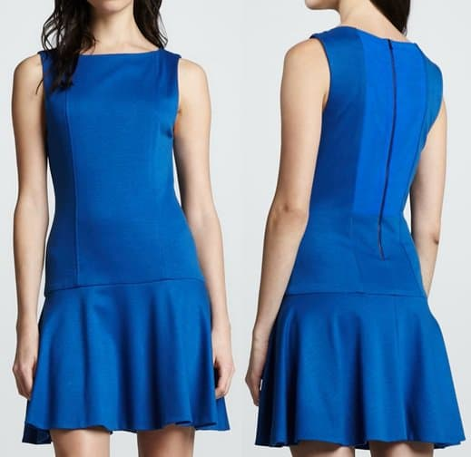 alice olivia dropwaist boat neck dress
