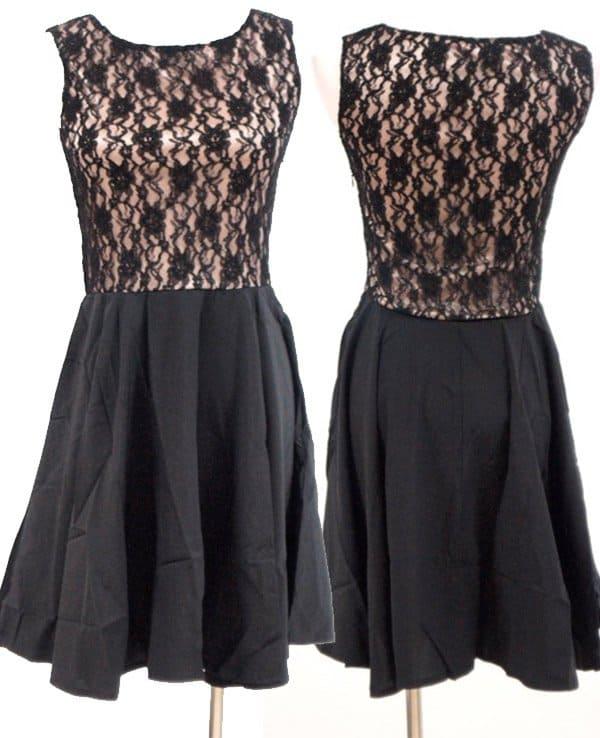 Sleeveless Mesh-Lace Skater Dress