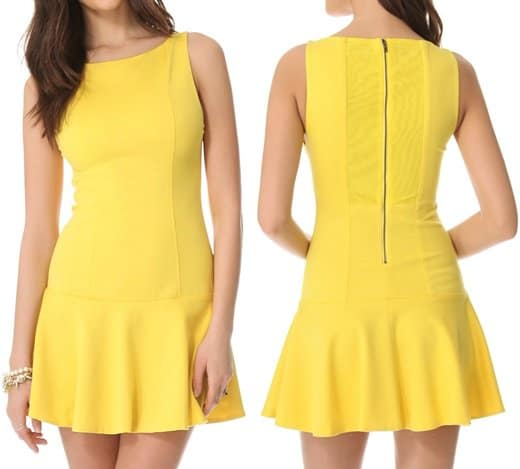 alice olivia dropwaist boat neck dress yellow