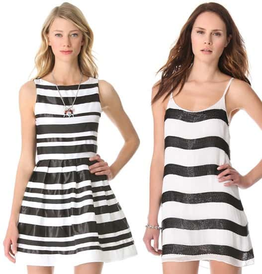 alice + olivia dresses black and white shopbop