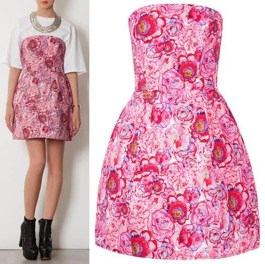 Topshop Rose Print Lantern Dress