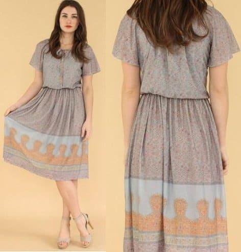 70s Sheer Floral-Print Dress