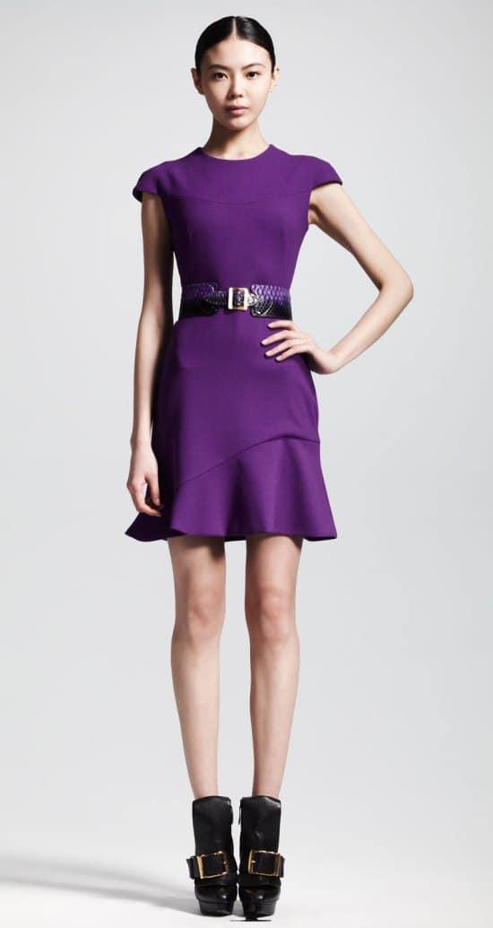Alexander McQueen Wool Crepe Flounce Dress