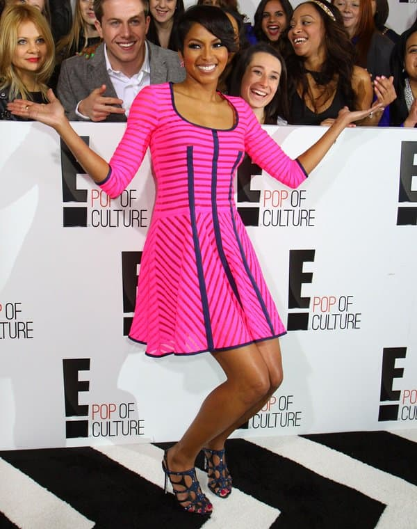 Alicia Quarles wearing eye-catching and kind of flirty dress