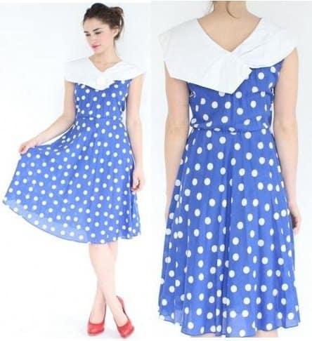 Bib Collar Polka-Dot Dress