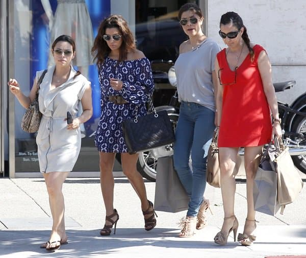 Eva Longoria shopping at Sunset Plaza with friends in Los Angeles