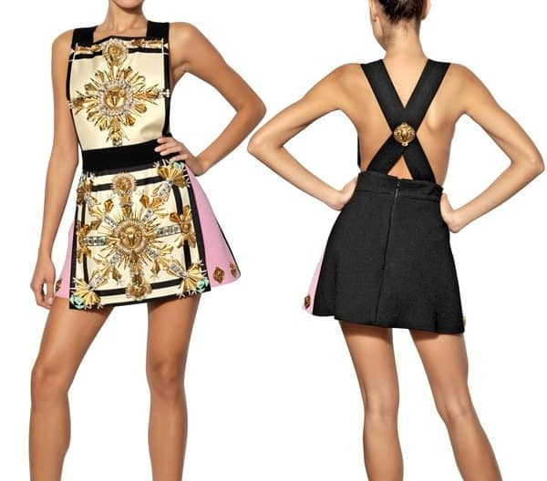 Fausto Puglisi Embroidered Twill on Wool Crepe Dress
