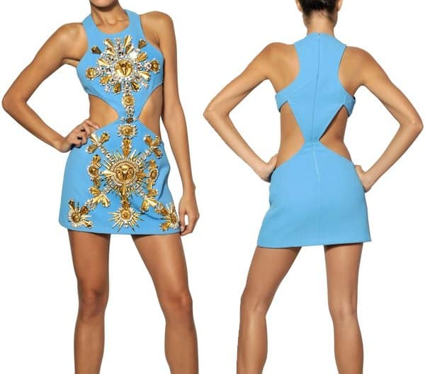 Fausto Puglisi Embroidered Wool Crepe Dress
