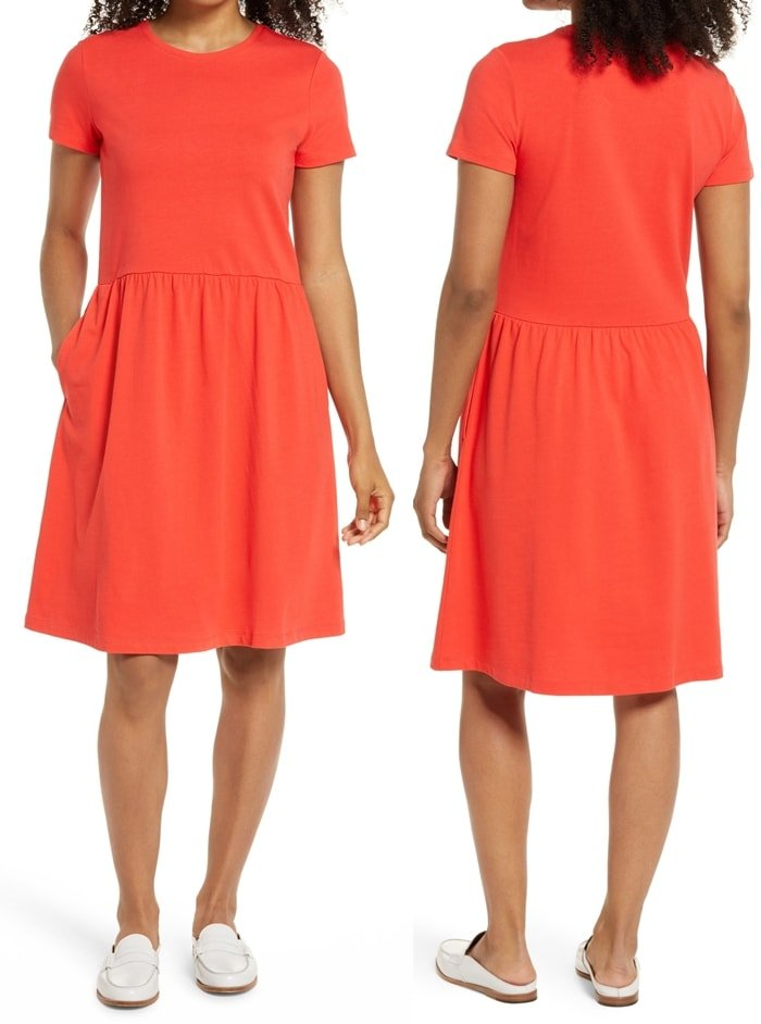 A warm-weather classic, this comfy red T-shirt dress is upgraded in a feminine silhouette with a gathered skirt and handy pockets