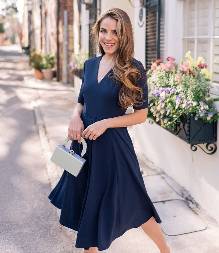 Demure sleeves and a V-neck add to the timeless elegance of a versatile fit-and-flare frock that can be easily dressed up or down to fit the occasion