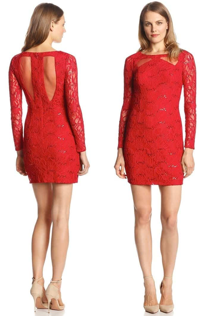 Hailey by Adrianna Papell Long-Sleeve Cutout-Lace Dress