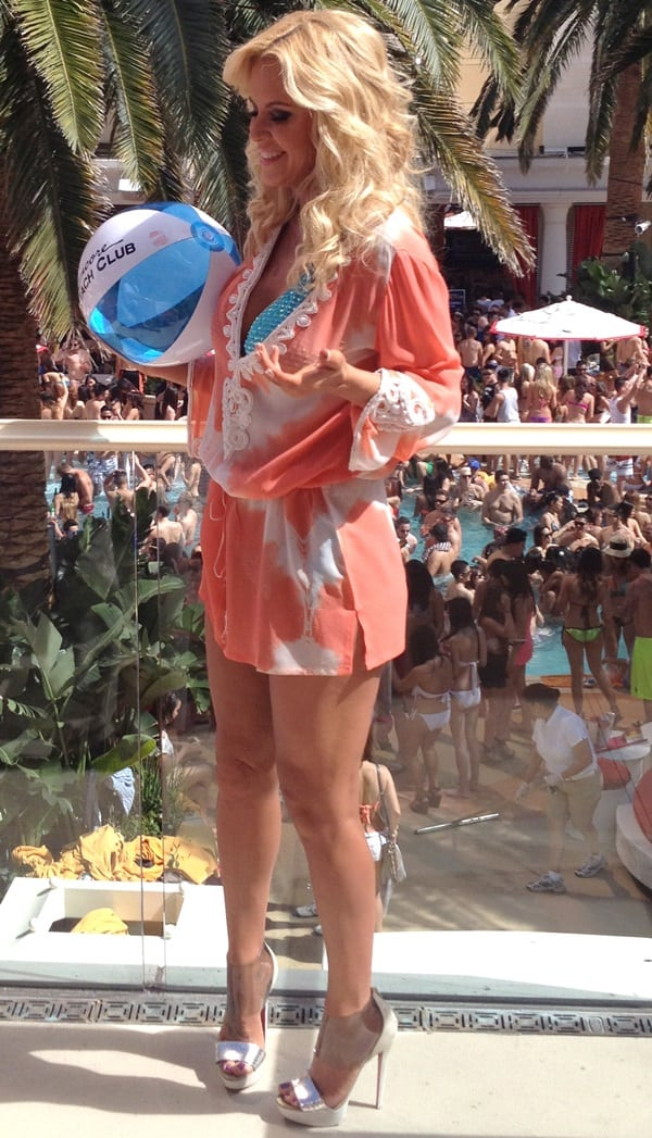 Jenny McCarthy enjoying a day of fun in the sun at Encore Beach Day Club