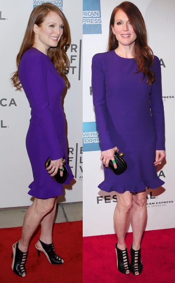 Julianne Moore looking flawless in her long-sleeved Alexander McQueen dress