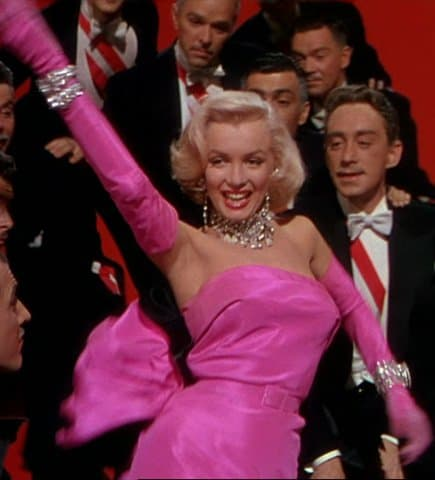Marilyn Monroe as Lorelei Lee in the pink strapless dress by William Travilla
