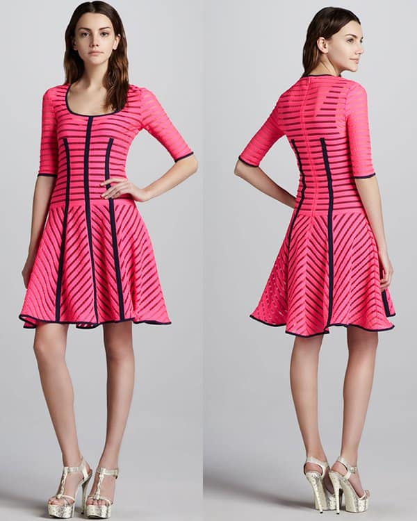 Nanette Lepore Auction Striped Knit Dress