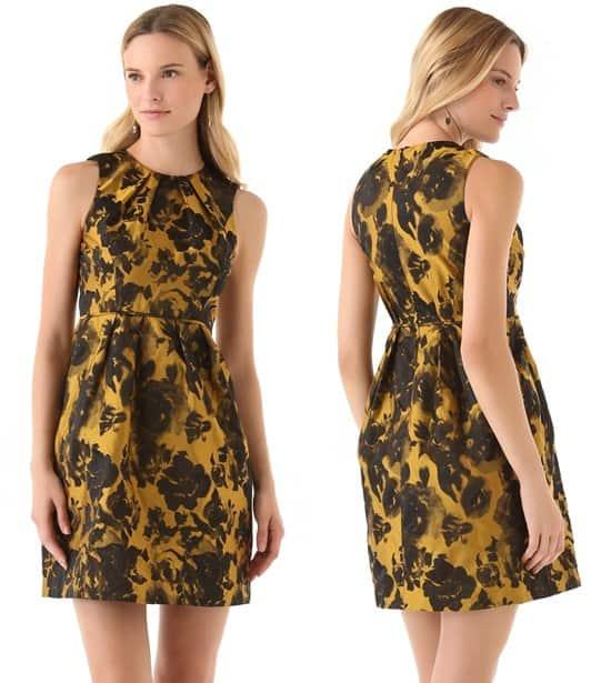 Shoshanna_Emilia Rose Jacquard Dress_yellow