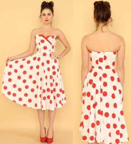 Strapless Sweetheart Polka-Dot Dress