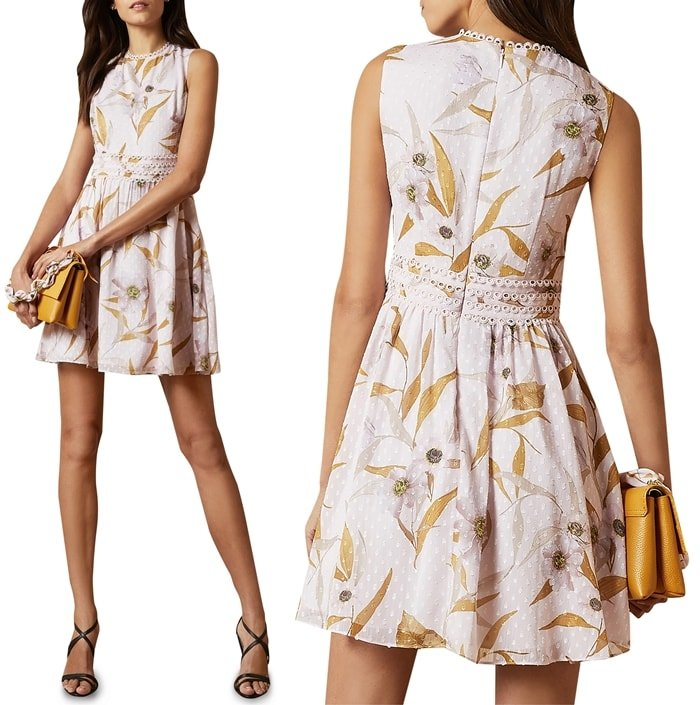 Like a wearable summery breeze, this darling dress, textured and blossom-tossed, is a lovely way to take on warm-weather gatherings