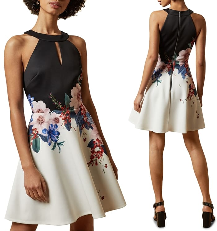 Ted nearly always brings you flowers, and this swirly skater dress covered in fresh-picked blooms does not disappoint