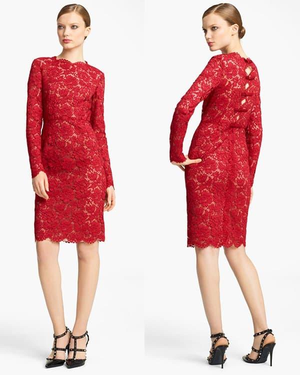 Valentino Bow Detail Lace Sheath Dress2